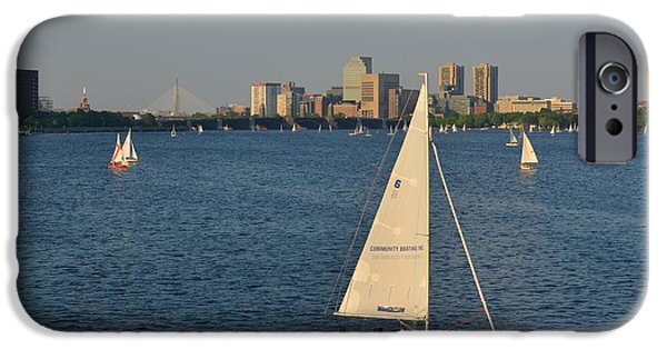 Boston Ma iPhone Cases - Sailboat on the Charles River iPhone Case by Toby McGuire