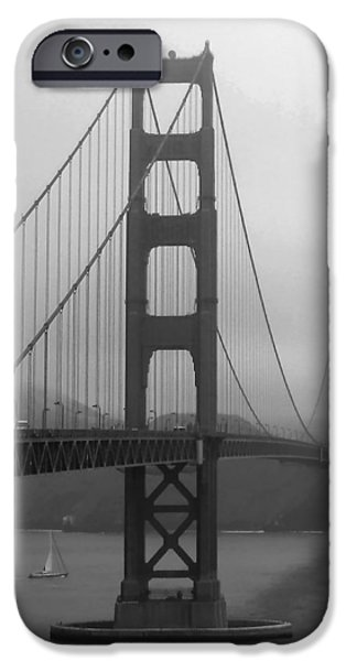 Sausalito iPhone Cases - Sailboat Passing Under Golden Gate Bridge iPhone Case by Connie Fox