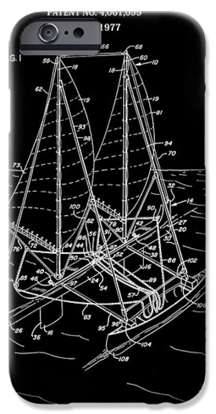 Sailboat Ocean Mixed Media iPhone Cases - Sailboat Patent Black And White iPhone Case by Dan Sproul