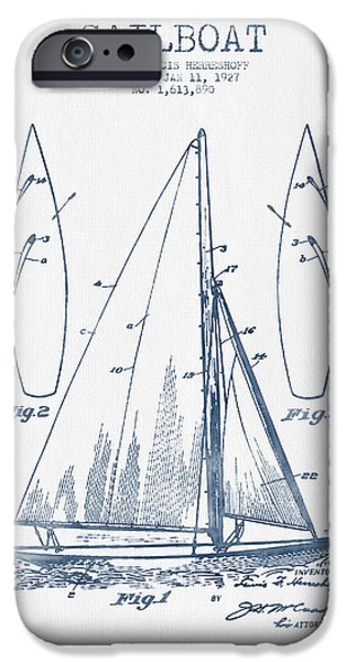 Sailboat Digital Art iPhone Cases - Sailboat Patent Drawing From 1927  -  Blue Ink iPhone Case by Aged Pixel