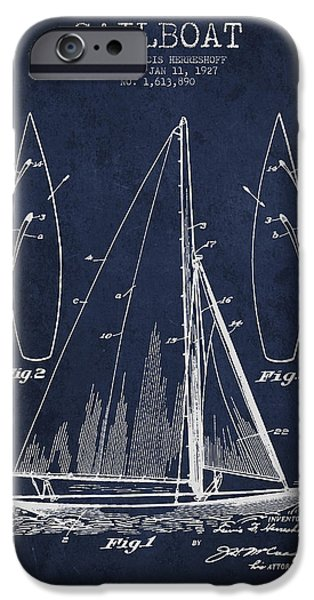 Sail Boat iPhone Cases - Sailboat Patent Drawing From 1927 iPhone Case by Aged Pixel
