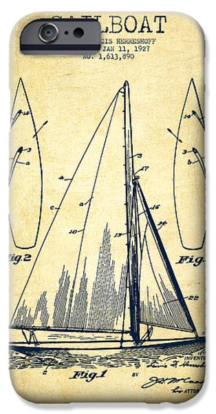 Sailboat Digital Art iPhone Cases - Sailboat Patent Drawing From 1927 - Vintage iPhone Case by Aged Pixel