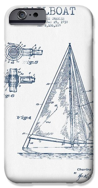 Sailboat Digital Art iPhone Cases - Sailboat Patent Drawing From 1938  -  Blue Ink iPhone Case by Aged Pixel