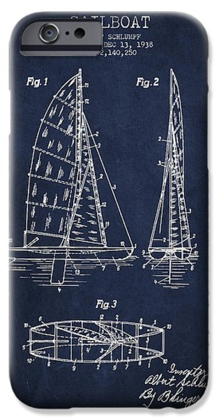 Sailboat Patent Drawing From 1938 iPhone Case by Aged Pixel