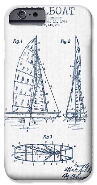 Blue Sailboats iPhone Cases - Sailboat Patent Drawing From 1938  - Blue Ink iPhone Case by Aged Pixel
