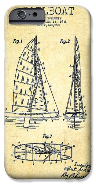 Sailboat Digital Art iPhone Cases - Sailboat Patent Drawing From 1938 - Vintage iPhone Case by Aged Pixel