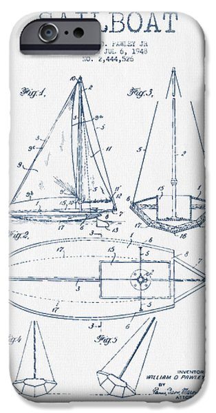 Sailboat Digital Art iPhone Cases - Sailboat Patent Drawing From 1948  -  Blue Ink iPhone Case by Aged Pixel