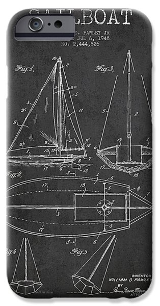 Sailboat Digital Art iPhone Cases - Sailboat Patent Drawing From 1948 iPhone Case by Aged Pixel