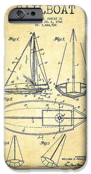 Sailboats iPhone Cases - Sailboat Patent Drawing From 1948 - Vintage iPhone Case by Aged Pixel