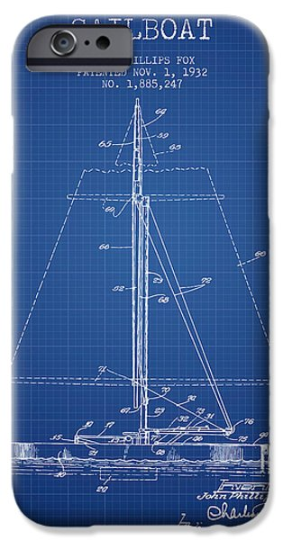 Sailing Digital iPhone Cases - Sailboat Patent from 1932 - Blueprint iPhone Case by Aged Pixel