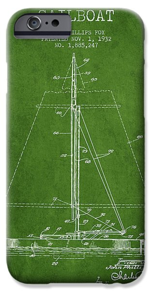 Sailing Digital iPhone Cases - Sailboat Patent from 1932 - Green iPhone Case by Aged Pixel