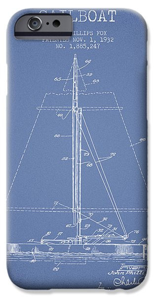 Sailing iPhone Cases - Sailboat Patent from 1932 - Light Blue iPhone Case by Aged Pixel