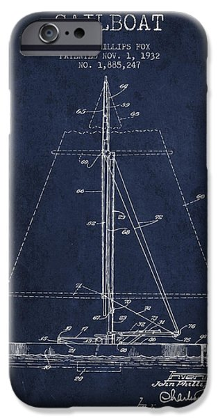 Sailing Digital iPhone Cases - Sailboat Patent from 1932 - Navy Blue iPhone Case by Aged Pixel