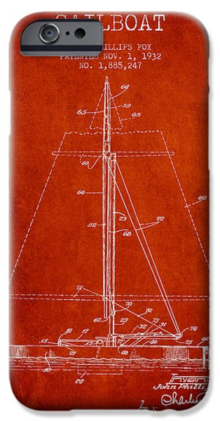 Sailing Digital iPhone Cases - Sailboat Patent from 1932 - Red iPhone Case by Aged Pixel
