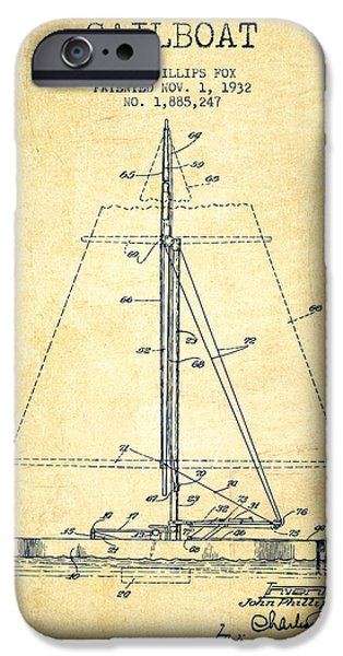 Sailing Digital iPhone Cases - Sailboat Patent from 1932 - Vintage iPhone Case by Aged Pixel