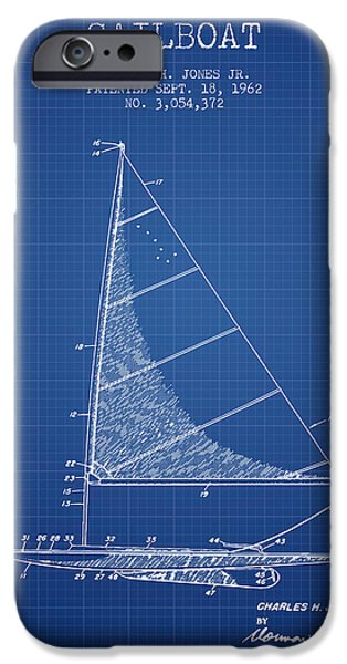 Sailboat iPhone Cases - Sailboat Patent from 1962 - Blueprint iPhone Case by Aged Pixel
