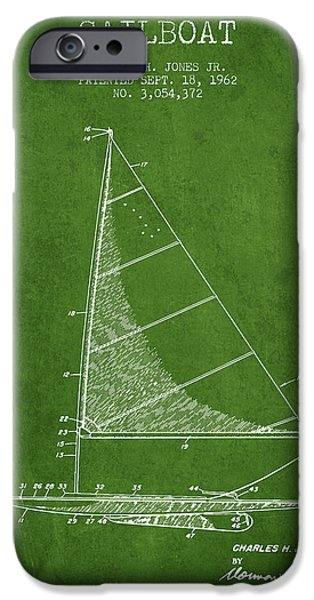 Sailing Digital iPhone Cases - Sailboat Patent from 1962 - Green iPhone Case by Aged Pixel