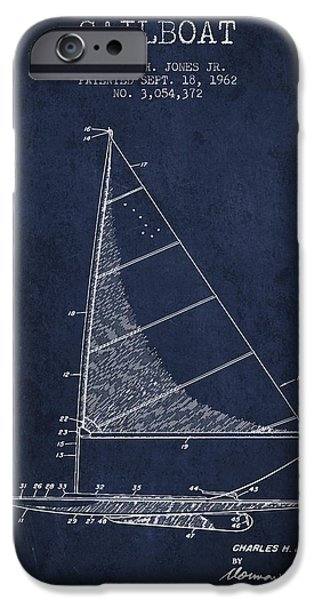 Sailboat iPhone Cases - Sailboat Patent from 1962 - Navy Blue iPhone Case by Aged Pixel