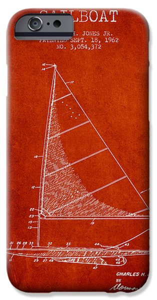 Sailing iPhone Cases - Sailboat Patent from 1962 - Red iPhone Case by Aged Pixel