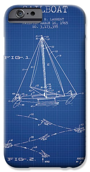 Sailboats iPhone Cases - Sailboat Patent from 1965 - Blueprint iPhone Case by Aged Pixel