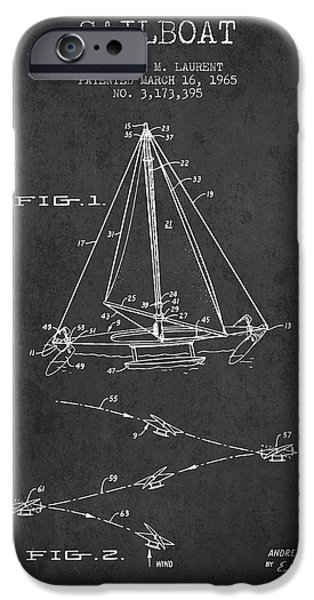 Sailboats iPhone Cases - Sailboat Patent from 1965 - Dark iPhone Case by Aged Pixel