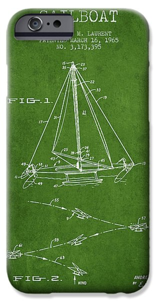 Sailboats iPhone Cases - Sailboat Patent from 1965 - Green iPhone Case by Aged Pixel