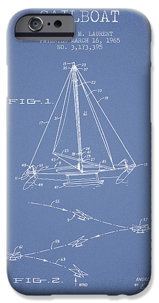 Sailboats iPhone Cases - Sailboat Patent from 1965 - Light Blue iPhone Case by Aged Pixel