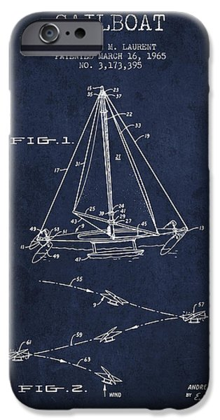 Sailboats iPhone Cases - Sailboat Patent from 1965 - Navy Blue iPhone Case by Aged Pixel