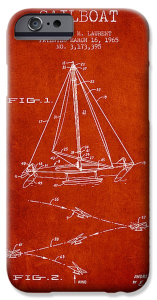 Sailboats iPhone Cases - Sailboat Patent from 1965 - Red iPhone Case by Aged Pixel