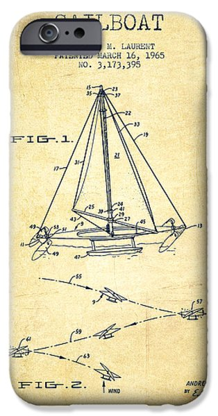 Sailboats iPhone Cases - Sailboat Patent from 1965 - Vintage iPhone Case by Aged Pixel