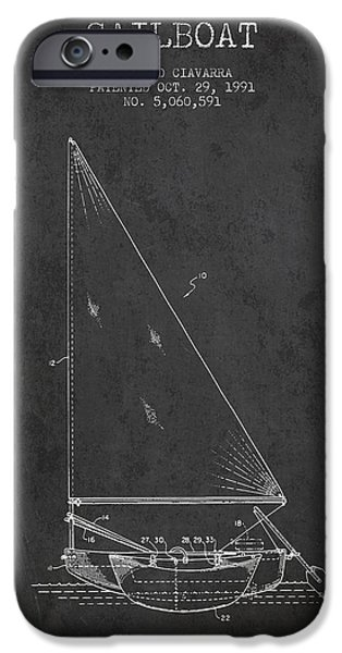 Sailboats iPhone Cases - Sailboat Patent from 1991- Dark iPhone Case by Aged Pixel