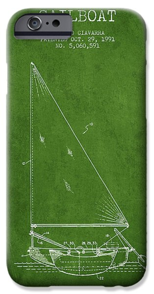Sailboats iPhone Cases - Sailboat Patent from 1991- Green iPhone Case by Aged Pixel