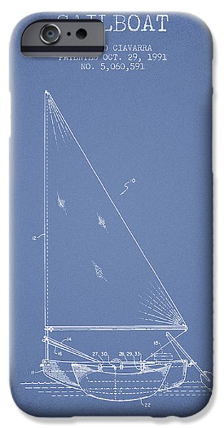 Sailboat Digital Art iPhone Cases - Sailboat Patent from 1991- Light Blue iPhone Case by Aged Pixel