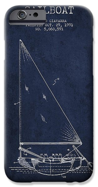 Sailboats iPhone Cases - Sailboat Patent from 1991- Navy Blue iPhone Case by Aged Pixel
