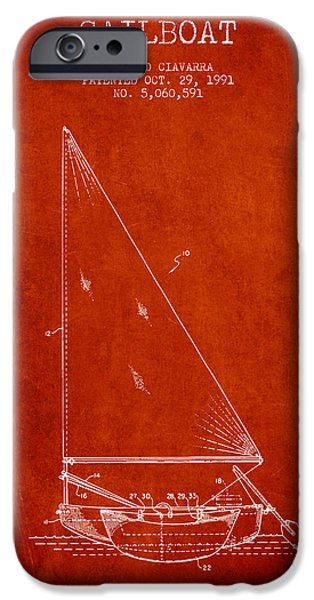Sailboats iPhone Cases - Sailboat Patent from 1991- Red iPhone Case by Aged Pixel