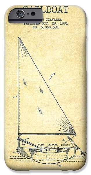 Sailboats iPhone Cases - Sailboat Patent from 1991- Vintage iPhone Case by Aged Pixel