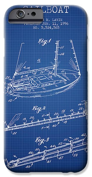 Sailboats iPhone Cases - Sailboat Patent from 1996 - Blueprint iPhone Case by Aged Pixel
