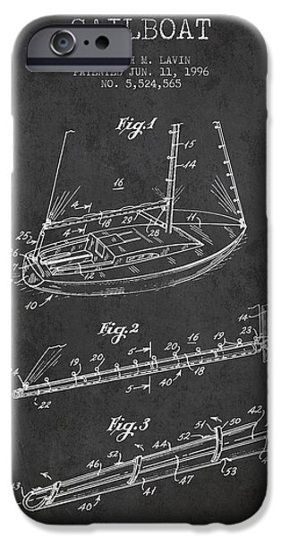 Sailboats iPhone Cases - Sailboat Patent from 1996 - Dark iPhone Case by Aged Pixel