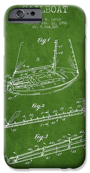 Sailboats iPhone Cases - Sailboat Patent from 1996 - Green iPhone Case by Aged Pixel