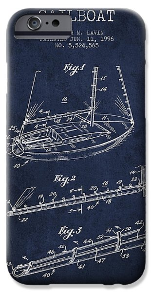 Sailboats iPhone Cases - Sailboat Patent from 1996 - Navy Blue iPhone Case by Aged Pixel