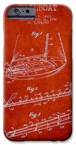 Sailboats iPhone Cases - Sailboat Patent from 1996 - Red iPhone Case by Aged Pixel