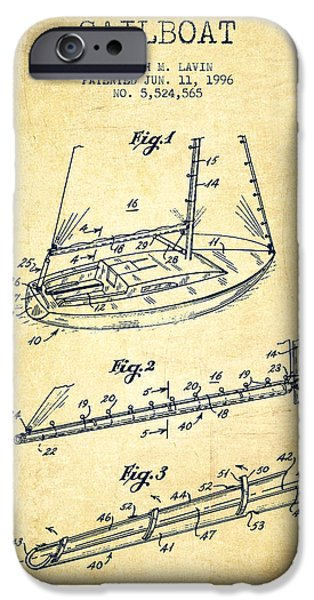 Sailboats iPhone Cases - Sailboat Patent from 1996 - Vintage iPhone Case by Aged Pixel