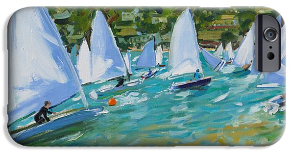 Sailboat Paintings iPhone Cases - Sailboat Race iPhone Case by Andrew Macara