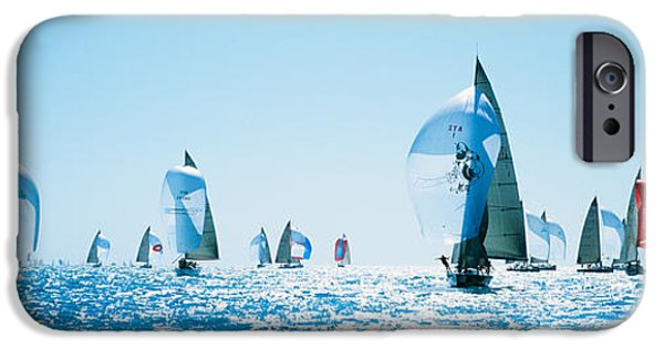 Sailboat iPhone Cases - Sailboat Race, Key West Florida, Usa iPhone Case by Panoramic Images