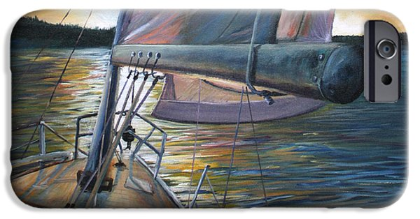 Canada Sports Paintings iPhone Cases - Smooth Sailing iPhone Case by Stefan Kaertner