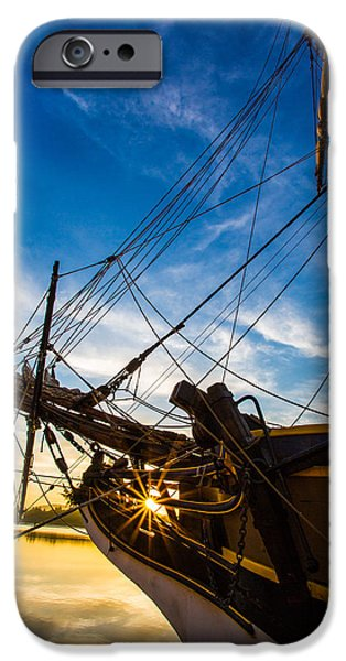 Lady Washington iPhone Cases - Sailboat Sunrise iPhone Case by Robert Bynum
