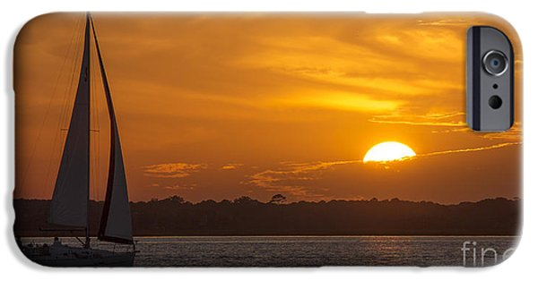 Sailboat Photographs iPhone Cases - Sailboat Sunset  iPhone Case by Dustin K Ryan