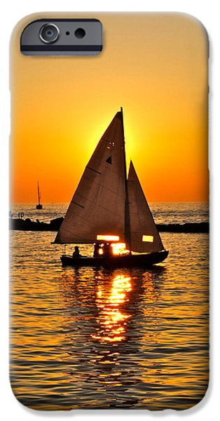Sailboat Sunset iPhone Case by Frozen in Time Fine Art Photography