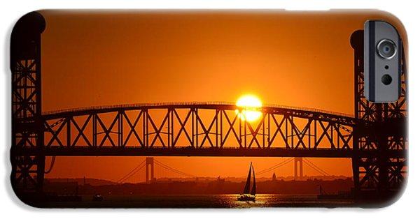 Recently Sold -  - Bay Bridge iPhone Cases - Sailboat under Marine Park Bridge iPhone Case by Maureen E Ritter
