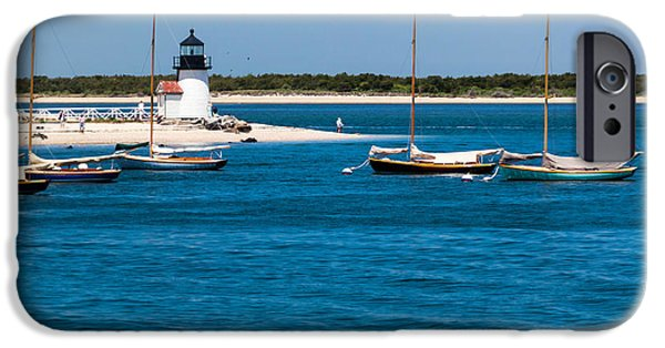 Sailboat Ocean iPhone Cases - Sailboats and Brant Point Lighthouse Nantucket iPhone Case by Michelle Wiarda